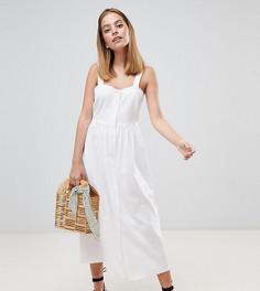 Льняное платье макси на пуговицах ASOS DESIGN Petite - Белый