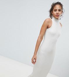 Трикотажное платье миди в рубчик ASOS DESIGN TALL - Бежевый