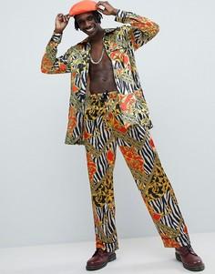 Пижамные брюки с принтом Jaded London - Черный