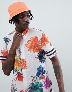 Сетчатая рубашка в полоску с цветочным принтом Jaded London - Белый