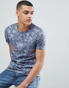 Темно-синяя футболка с цветочным принтом Burton Menswear - Темно-синий