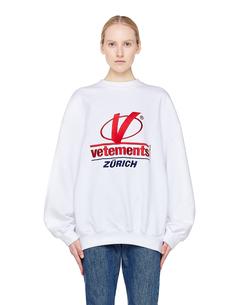 Белая толстовка с вышивкой Vetements