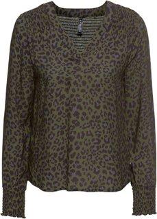 Блузка (темно-оливковый/черный с леопардовым рисунком) Bonprix