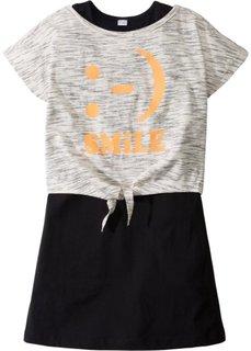 Трикотажное платье + футболка (2 изд.) (цвет белой шерсти/серый меланж + черный) Bonprix