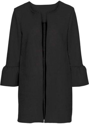 Пальто из искусственной замши с расклешенными рукавом (черный)