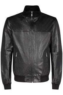 Кожаная куртка с отделкой из трикотажа Jorg Weber