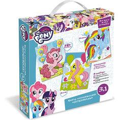 """Чудо-Тв. My little pony™. Набор аппликаций 3в1 """"Понивиль"""", песок, фольга, EVA; в короб . Арт. 03196 Origami"""
