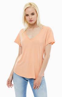 Оранжевая футболка с принтом Replay