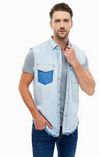Синий джинсовый жилет на кнопках Diesel