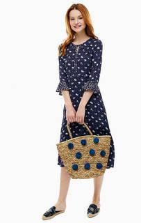 Синее платье средней длины с цветочным принтом Cath Kidston