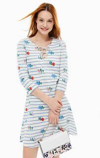 Хлопковое платье в полоску с расклешенной юбкой Cath Kidston