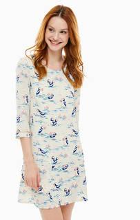Мини платье бежевого цвета с рукавами три четверти Cath Kidston