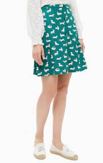 Короткая расклешенная юбка зеленого цвета Cath Kidston