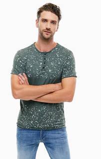 Хлопковая футболка с застежкой на пуговицы Guess