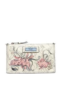 Кожаная сумка с принтом Etiquette Prada