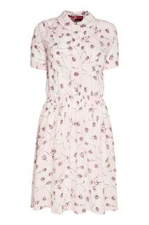 Шелковое платье с розами Miu Miu