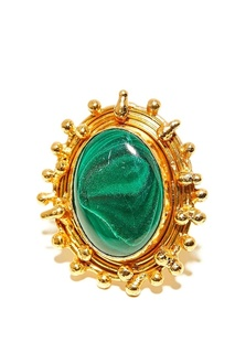 Позолоченное кольцо с малахитом Sylvia Toledano