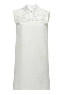 Белое платье с кружевом Miu Miu