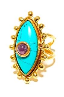 Позолоченное кольцо с аметистом и бирюзой Sylvia Toledano