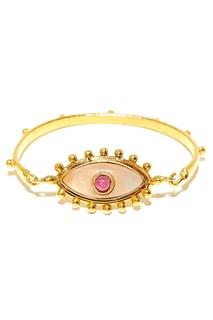 Позолоченный браслет с кварцем и рубином Sylvia Toledano