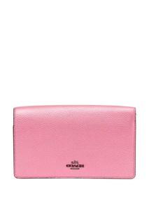 Розовая сумка с логотипом Foldover Coach