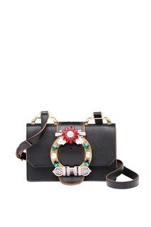 Черная сумка с декорированной пряжкой Miu Lady