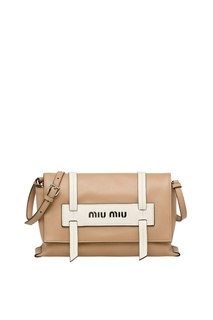 Бежевая кожаная сумка Grace Luxe Miu Miu