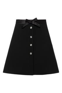Черная юбка-мини с пуговицами Miu Miu
