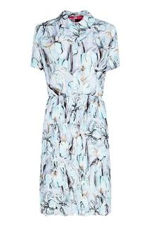 Шелковое платье с ирисами Miu Miu