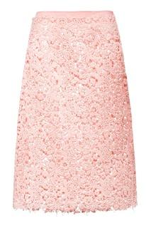 Юбка из розового кружева Miu Miu