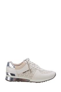 Комбинированные кроссовки с серебристой отделкой Michael Kors