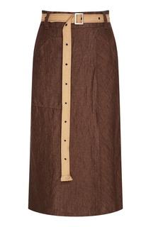 Льняная юбка-миди с запахом Adolfo Dominguez