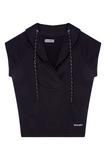 Черное худи с короткими рукавами Zasport