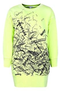 Зеленое платье с принтом Burberry Children