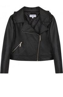 Кожаная куртка с косой молнией и оборками Simonetta