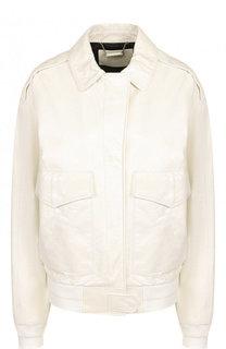 Однотонная кожаная куртка с отложным воротником Givenchy