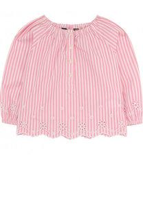 Хлопковая блуза свободного кроя с вышивкой и фестонами Ralph Lauren