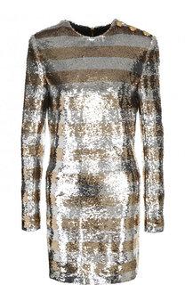 Мини-платье с круглым вырезом и пайетками Balmain