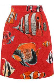Мини-юбка из смеси хлопка и вискозы с принтом Dolce & Gabbana