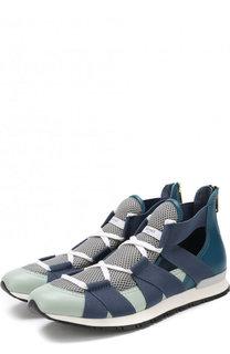 Комбинированные кроссовки на шнуровке Vionnet