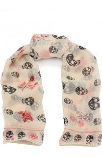 Шелковый шарф с принтом Alexander McQueen