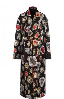 Шелковое пальто с поясом и принтом Dolce & Gabbana