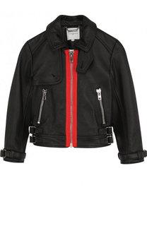 Кожаная куртка с контрастной отделкой Givenchy