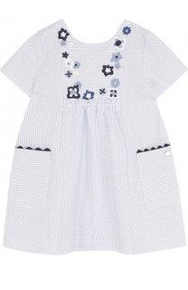 Хлопковое мини-платье свободного кроя с вышивкой Tartine Et Chocolat