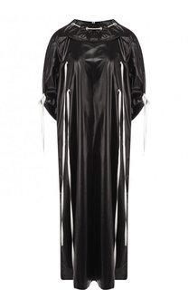 Платье-миди с контрастной отделкой и воротником-стойкой CALVIN KLEIN 205W39NYC