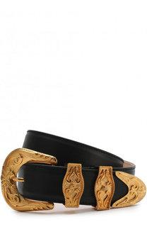 Кожаный ремень с металлической пряжкой Versace