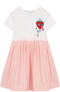 Хлопковое платье свободного кроя с аппликацией Fendi Roma