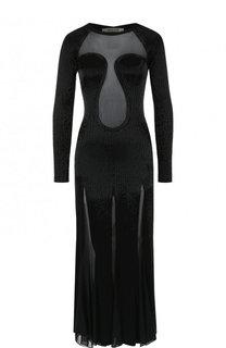 Платье-миди с прозрачными вставками и декорированной отделкой Roberto Cavalli