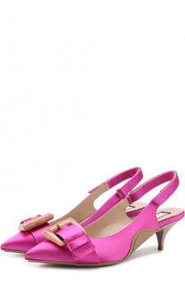 Атласные туфли с ремешком на каблуке kitten heel No. 21