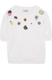 Хлопковое мини-платье с отделкой кристаллами и стразами Monnalisa